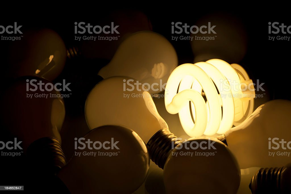 Lit Energy efficient light bulb royalty-free stock photo