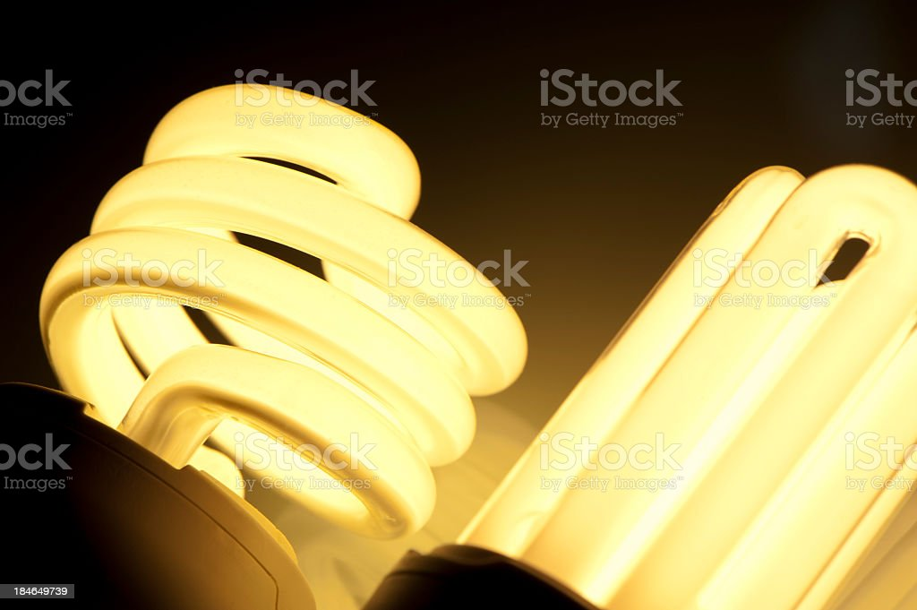 Lit energy efficient light bulbs royalty-free stock photo