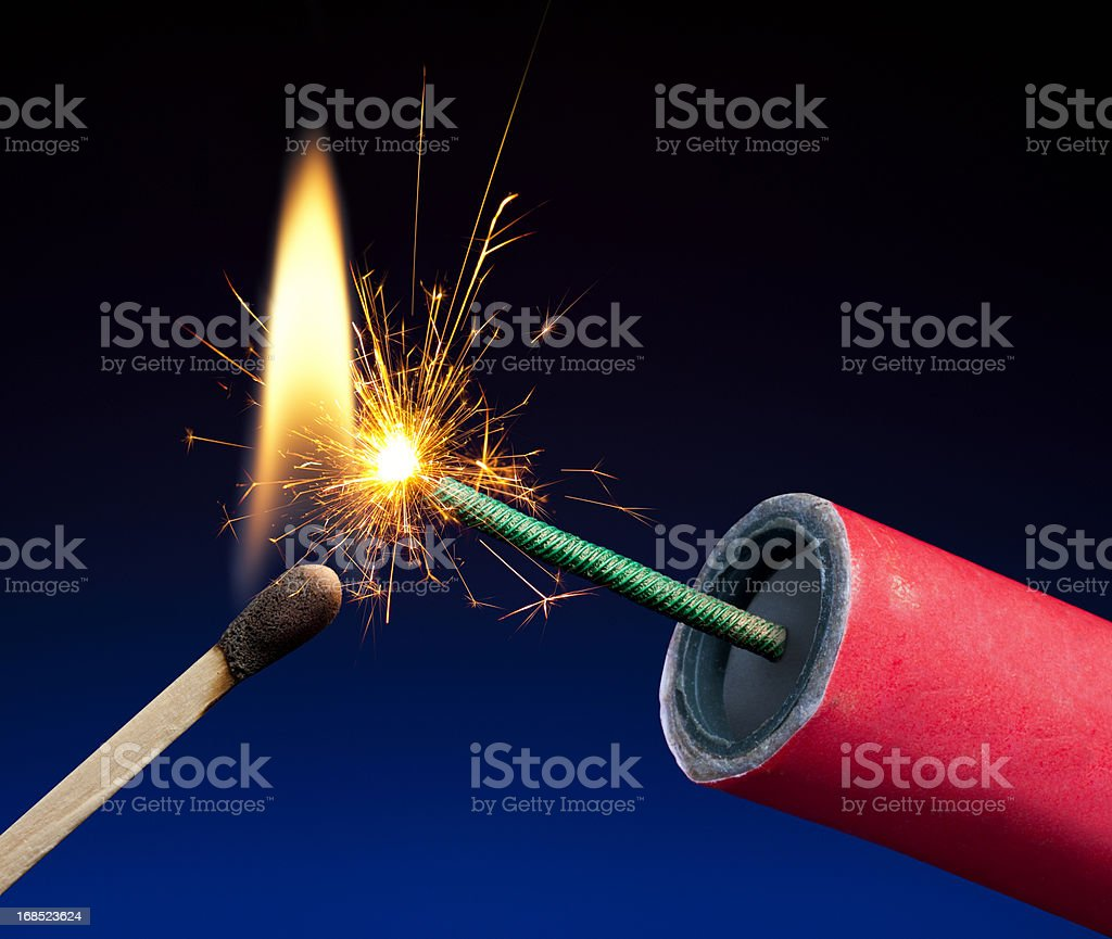 Lit Explosive Fuse Crackling and Sparking royalty-free stock photo