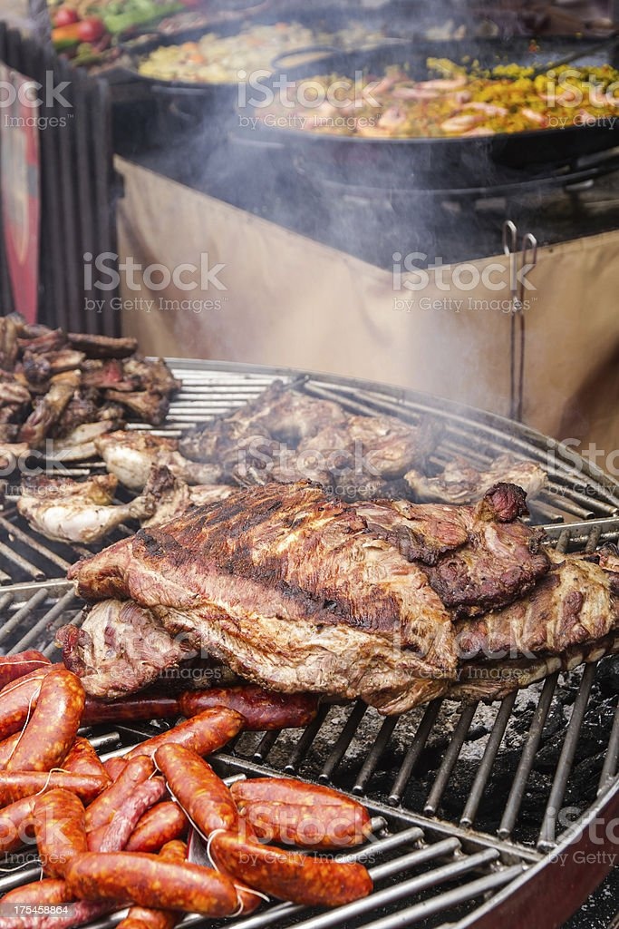 lit grill meat - parrilla encendida con carne royalty-free stock photo