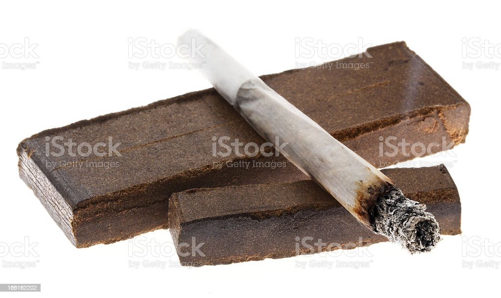 Lit Joint and Two Pieces of Hashish stock photo