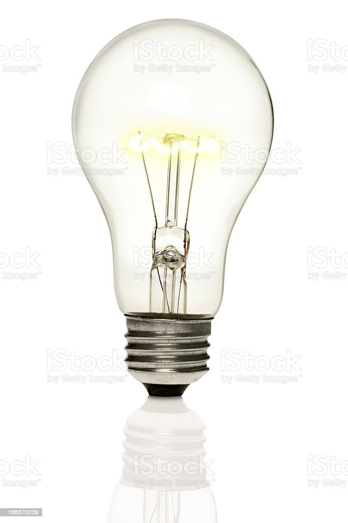 Lit Light Bulb Isolated on White royalty-free stock photo