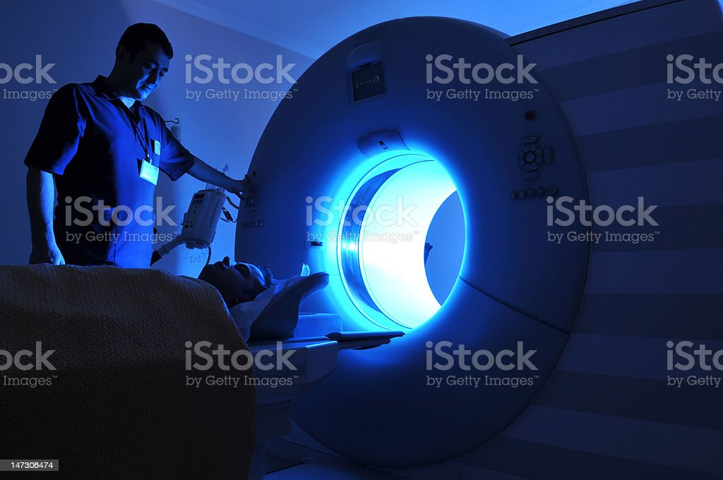 Lit magnetic resonance imaging machine royalty-free stock photo