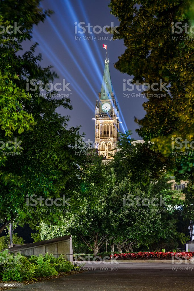 Lit Peace Tower on the Parliament of Canada stock photo