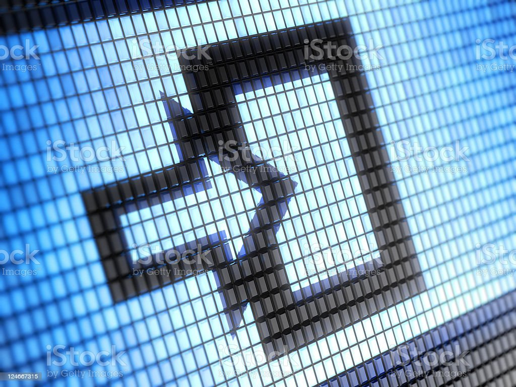 Lit screens showing an arrow to an entrance stock photo