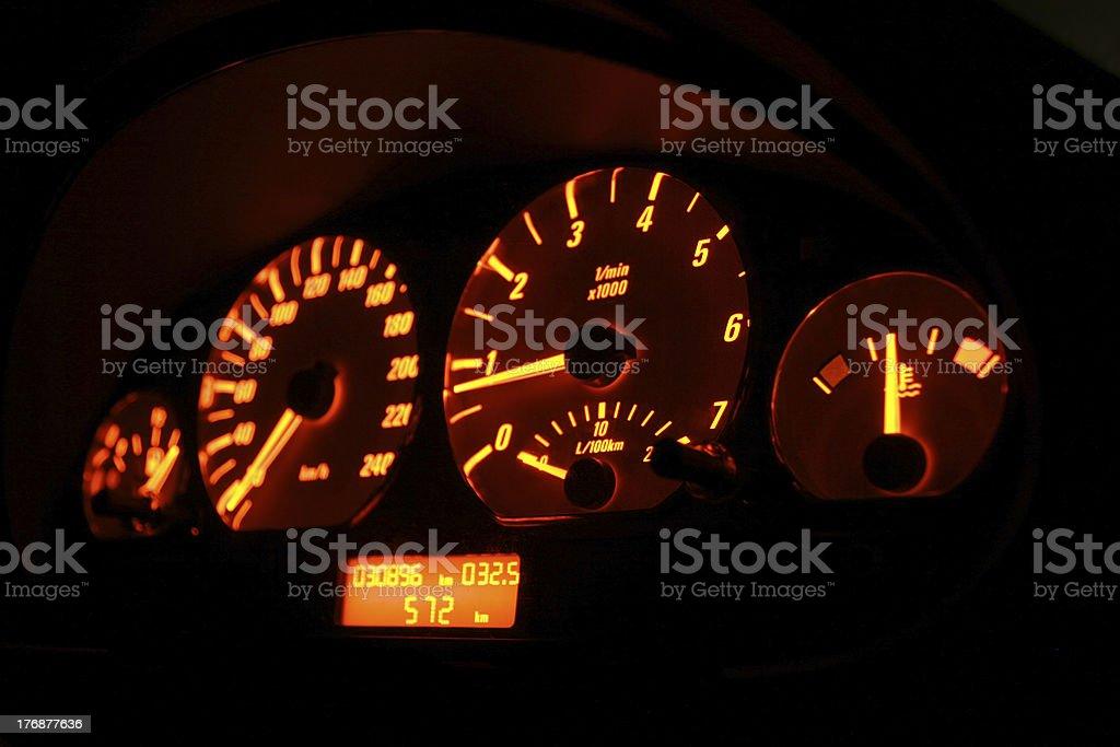 Lit tachometer royalty-free stock photo