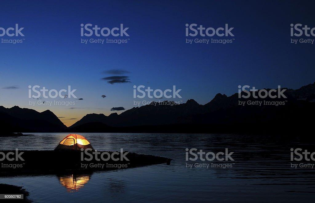 Lit Tent royalty-free stock photo