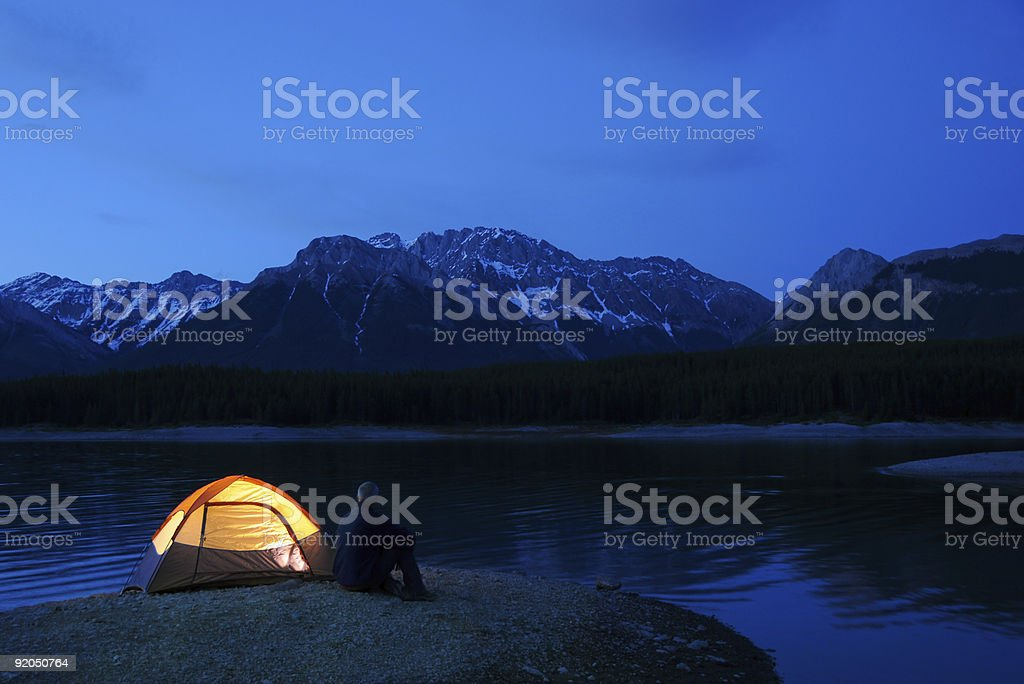 Lit Tent stock photo
