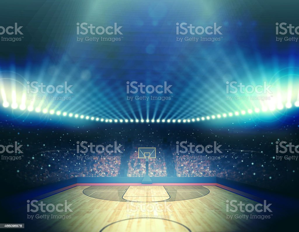 Lit up basketball arena before the game stock photo