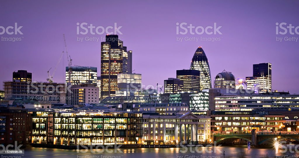 Lit up financial district of London royalty-free stock photo
