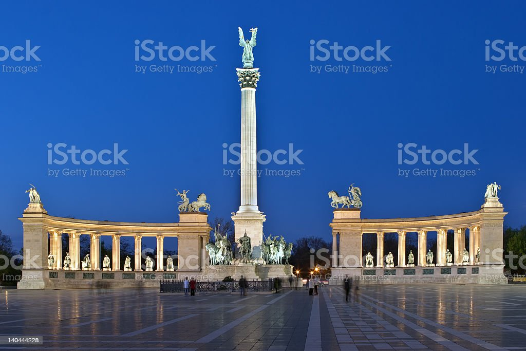 Lit up monument at Heros Square in Budapest  stock photo