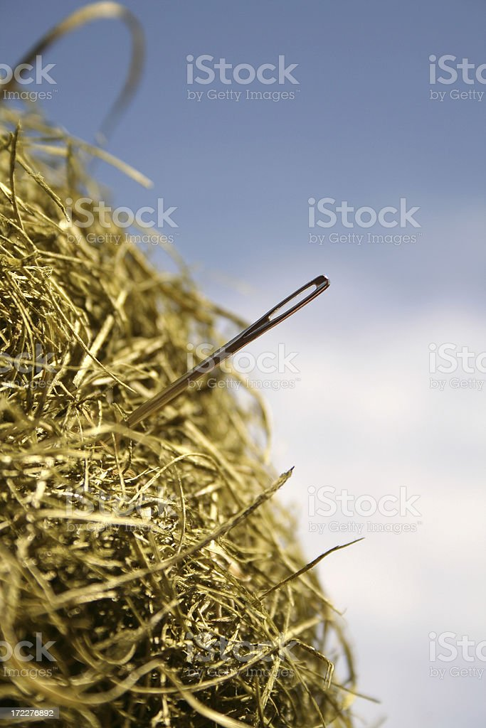 A literal image of a needle sticking out of a haystack stock photo