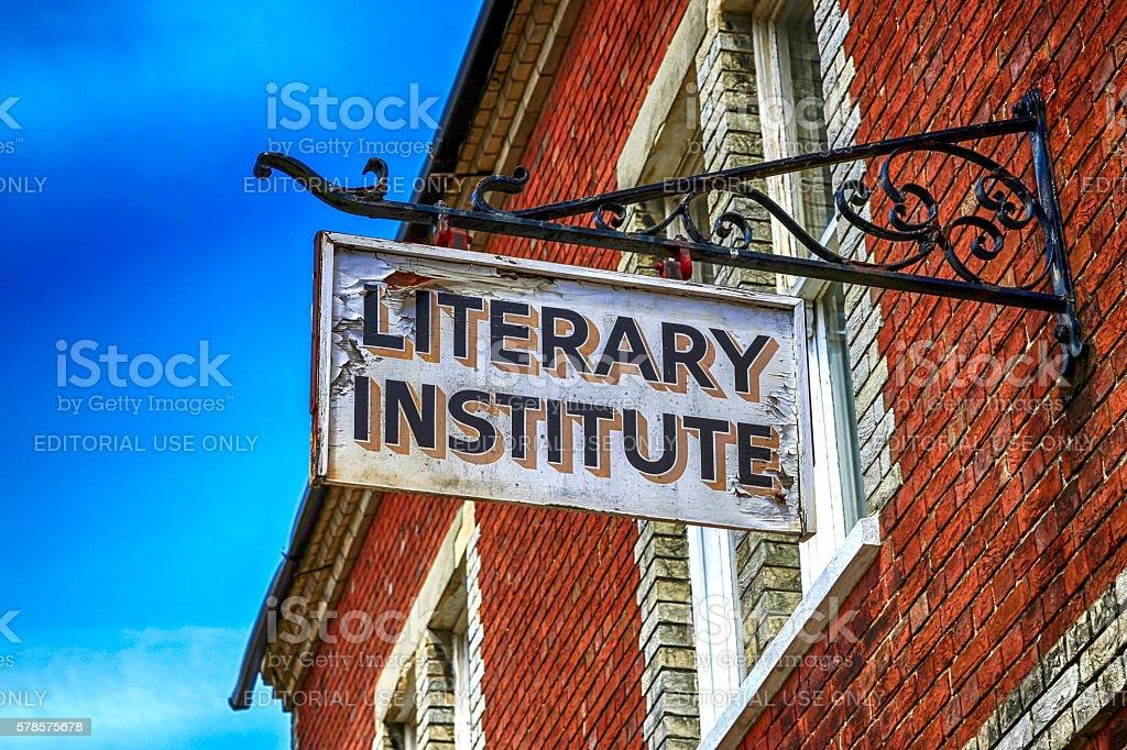 Literary Institute building overhead sign in Lymington, UK stock photo