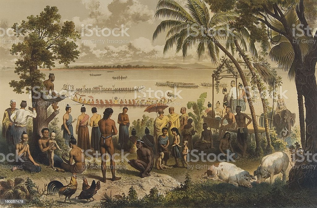 Lithograph from 1873 of boat-racing in Laos stock photo