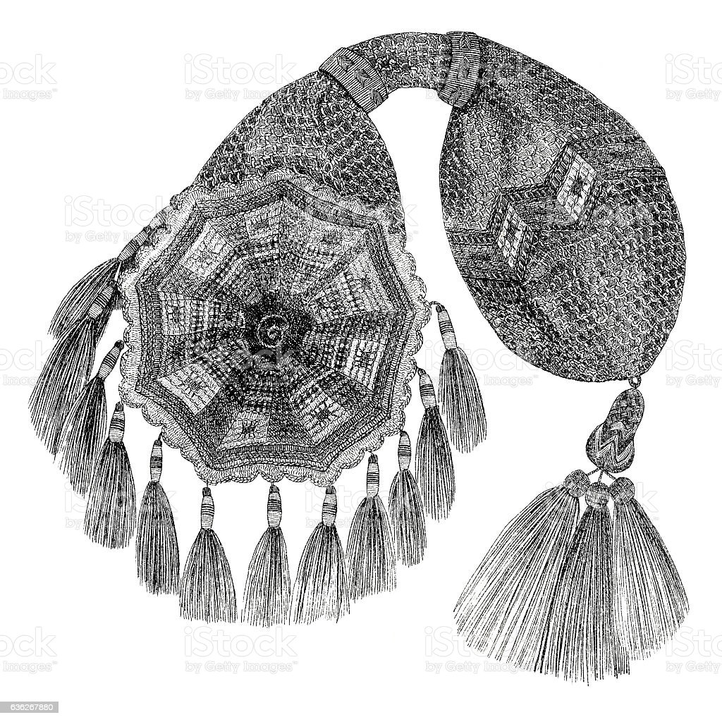 lithograph of crocheted purse 1860 stock photo