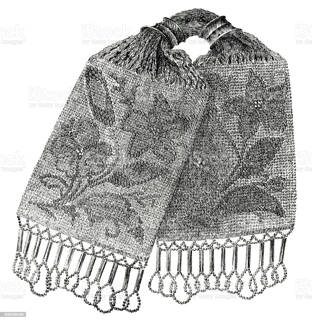 lithograph of Victorian crocheted purse 1860 stock photo