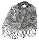 lithograph of Victorian crocheted purse 1860