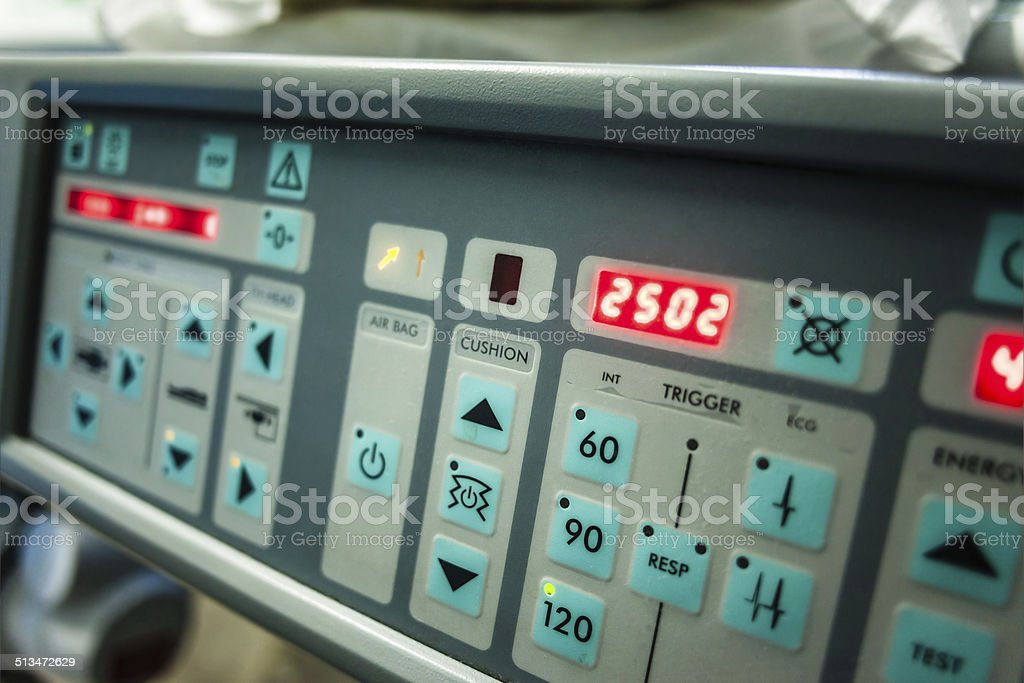 Lithotripter control panel stock photo