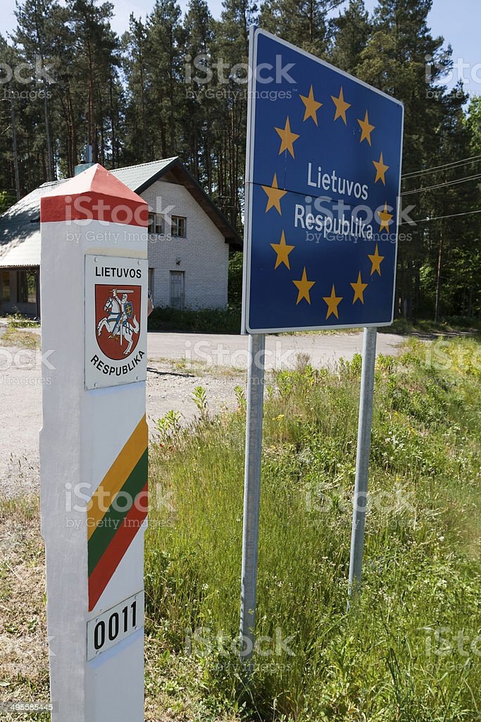 Lithuania country border sign stock photo