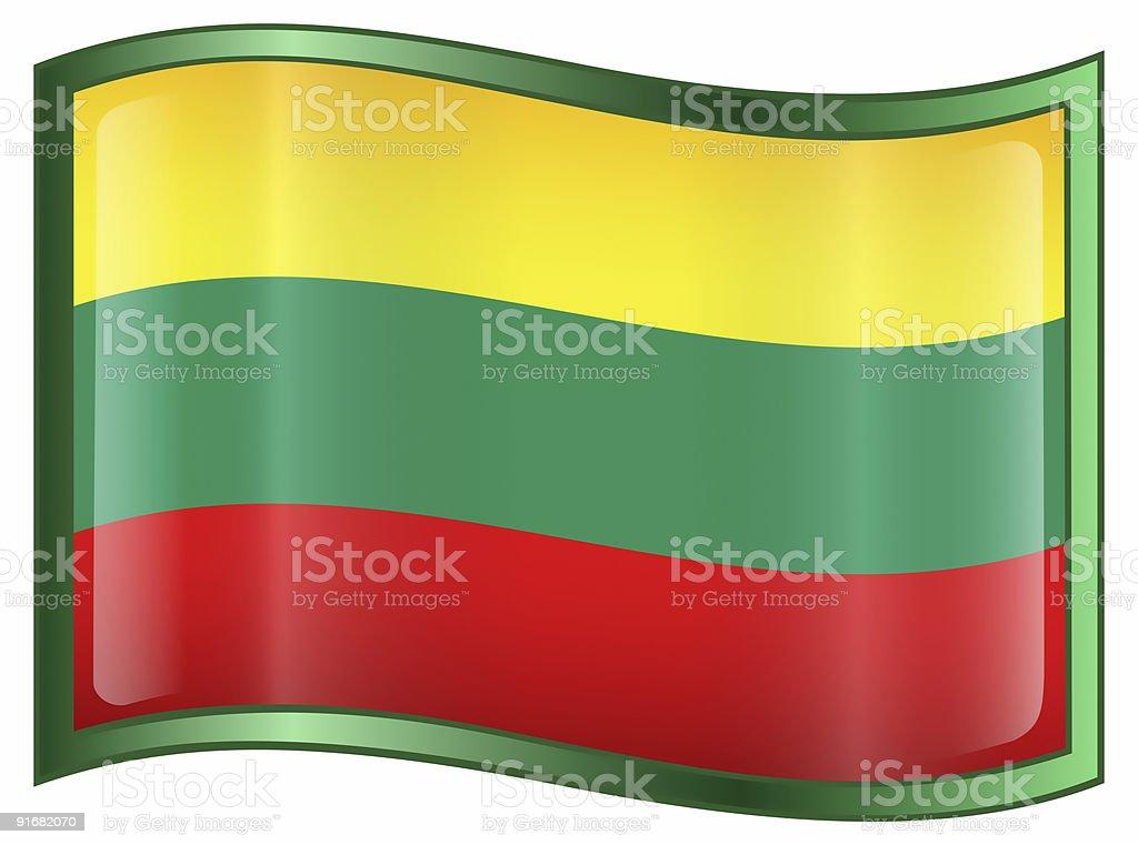 Lithuania Flag Icon, isolated on white background. stock photo