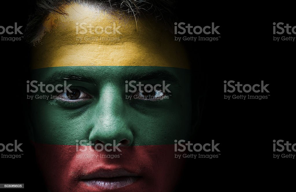 Lithuania flag on face stock photo