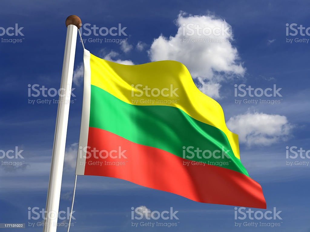 Lithuania flag (with clipping path) stock photo