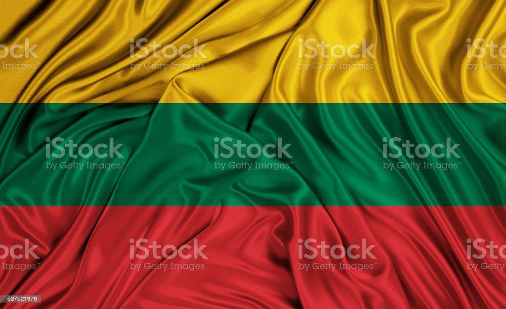 Lithuania flag - silk texture stock photo