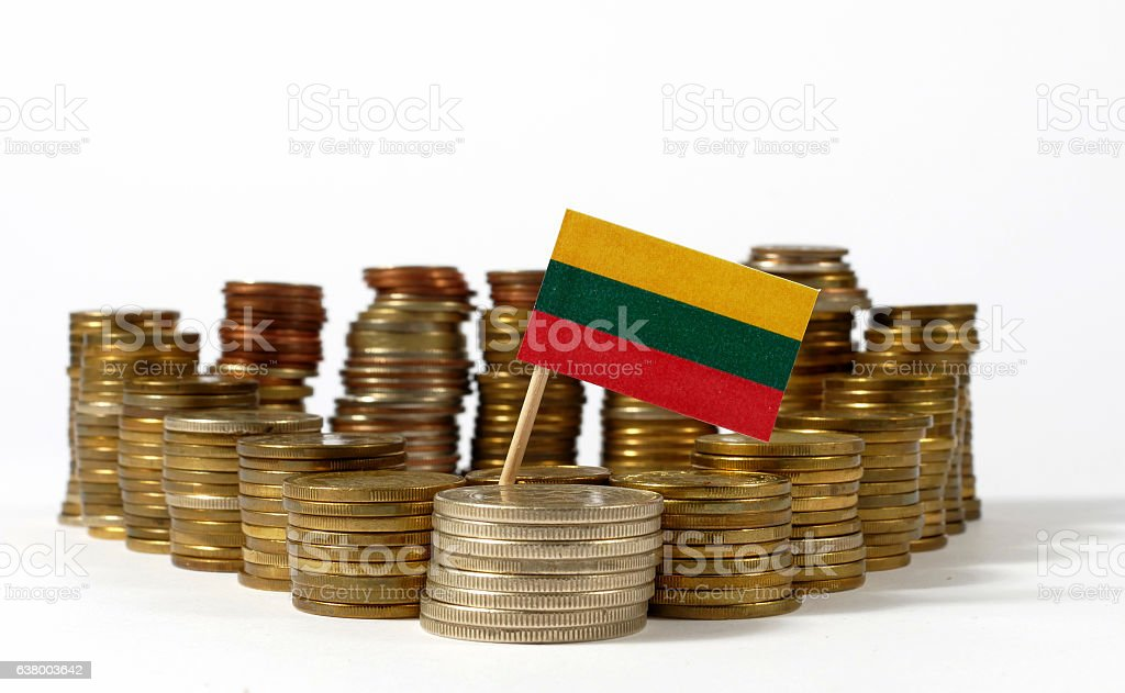 Lithuania flag waving with stack of money coins stock photo