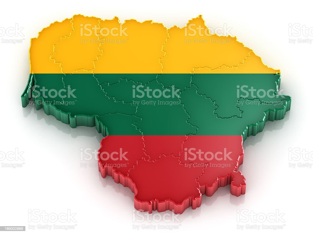 Lithuania map with flag royalty-free stock photo