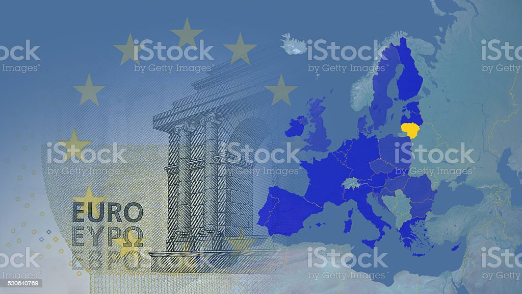 Lithuania new member Eurozone since  2015 16:9 stock photo