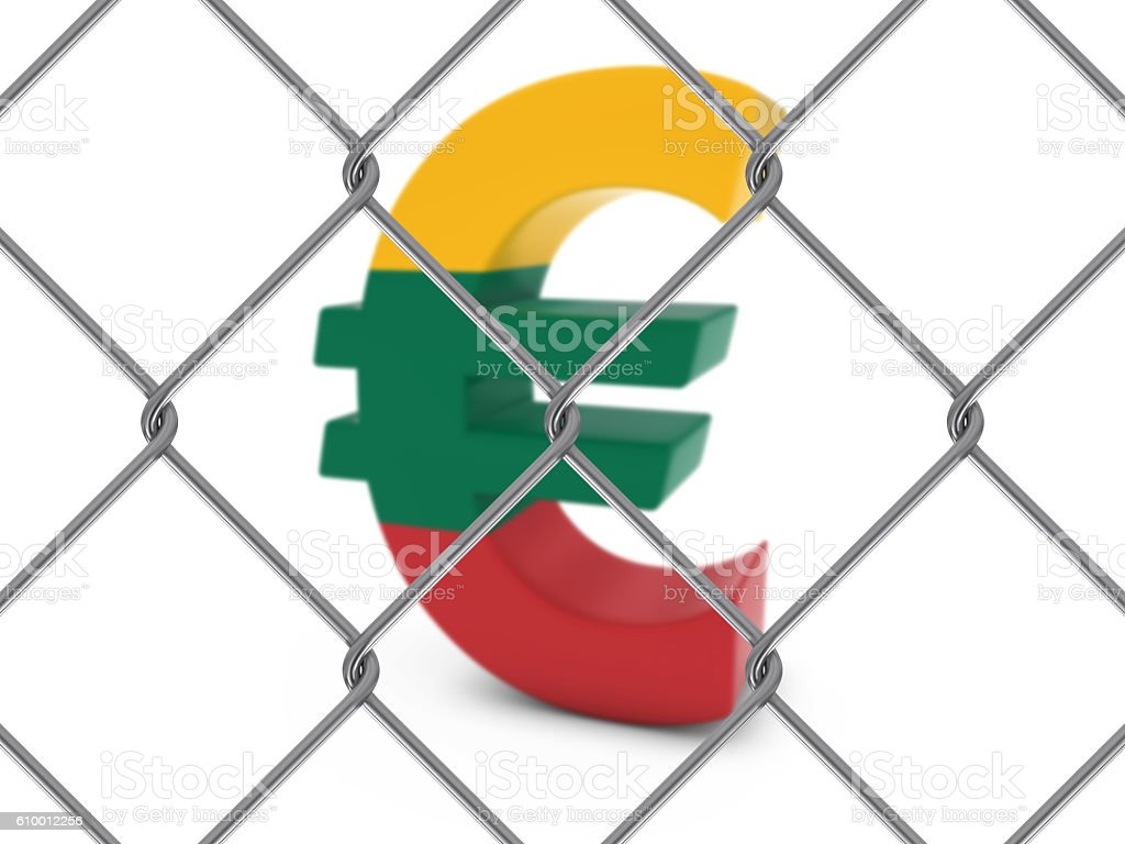 Lithuanian Flag Euro Symbol Behind Chain Link Fence stock photo