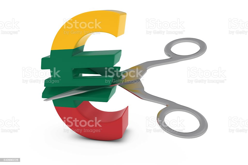 Lithuanian Flag Euro Symbol Cut in Half with Scissors stock photo