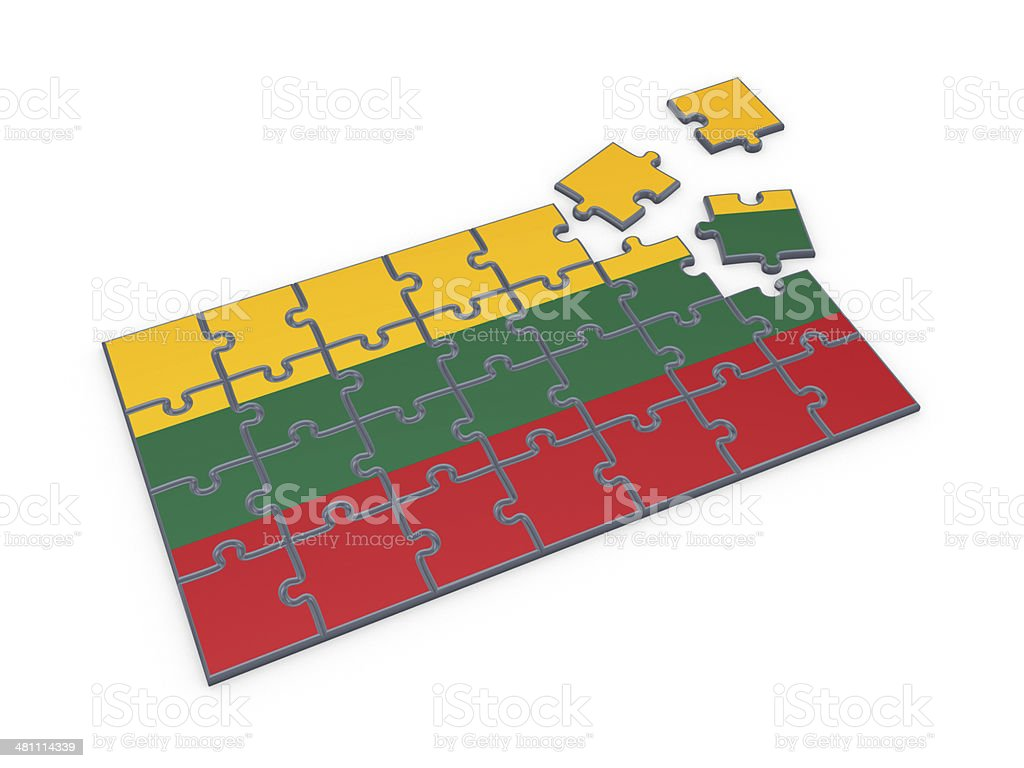 Lithuanian flag made of puzzles. stock photo