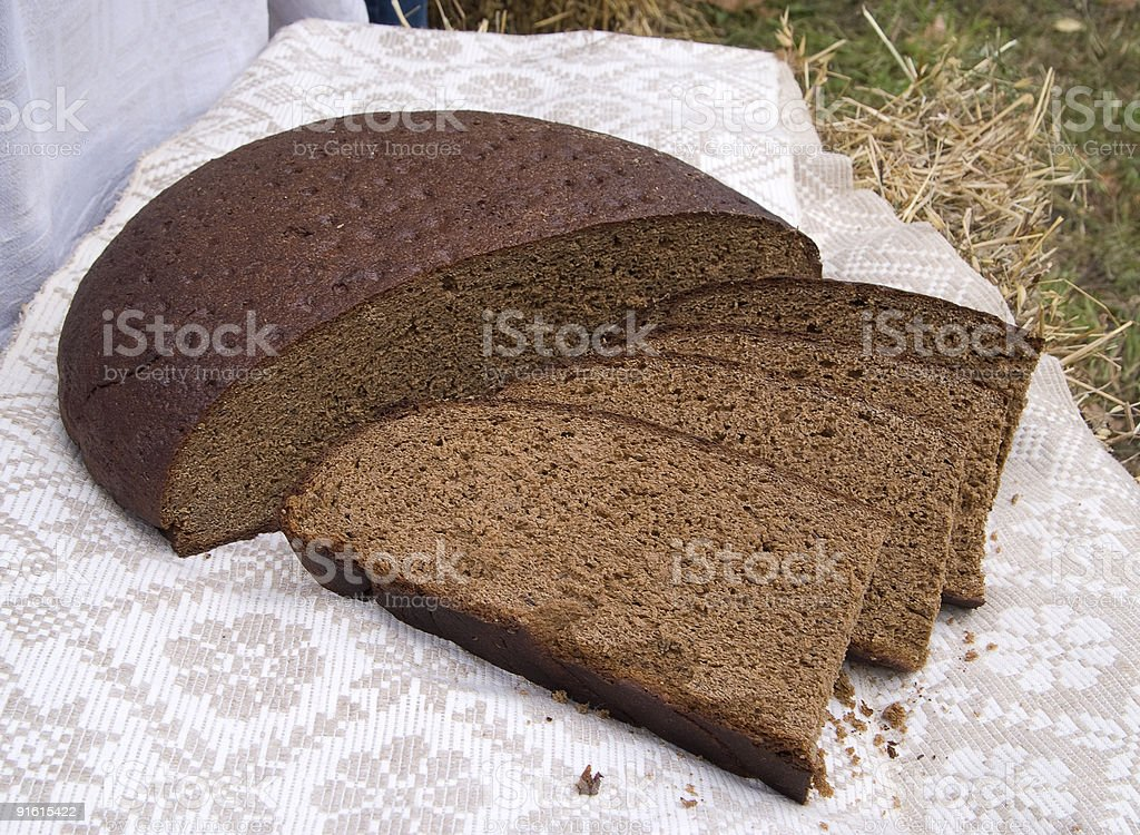 Lithuanian home made rye bread stock photo