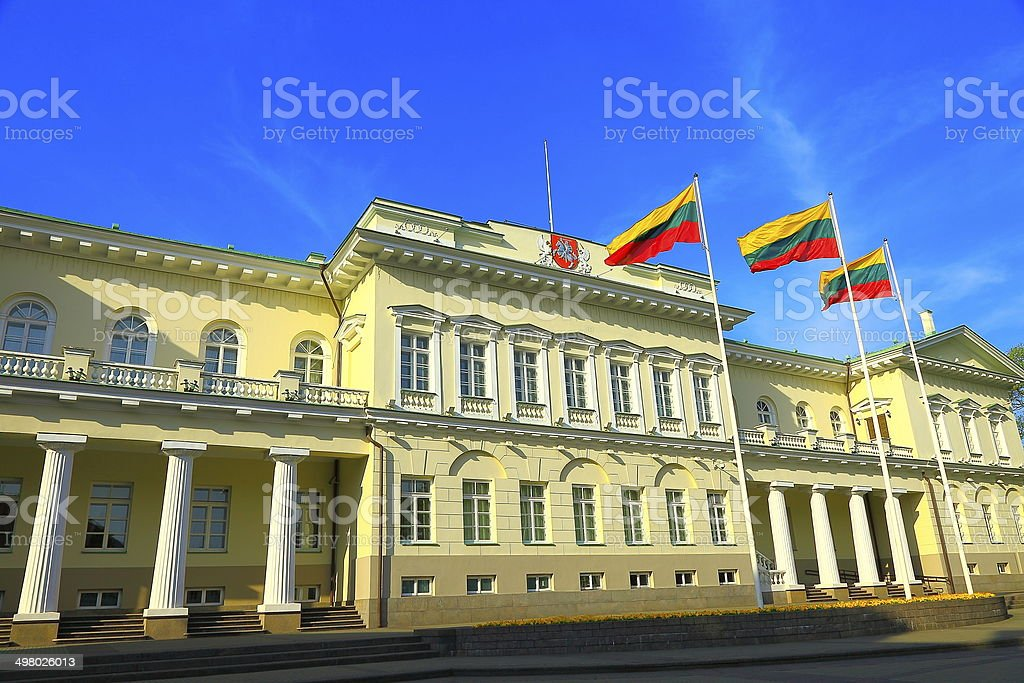 Lithuanian Presidential building and Flags, Vilnius, Baltics stock photo