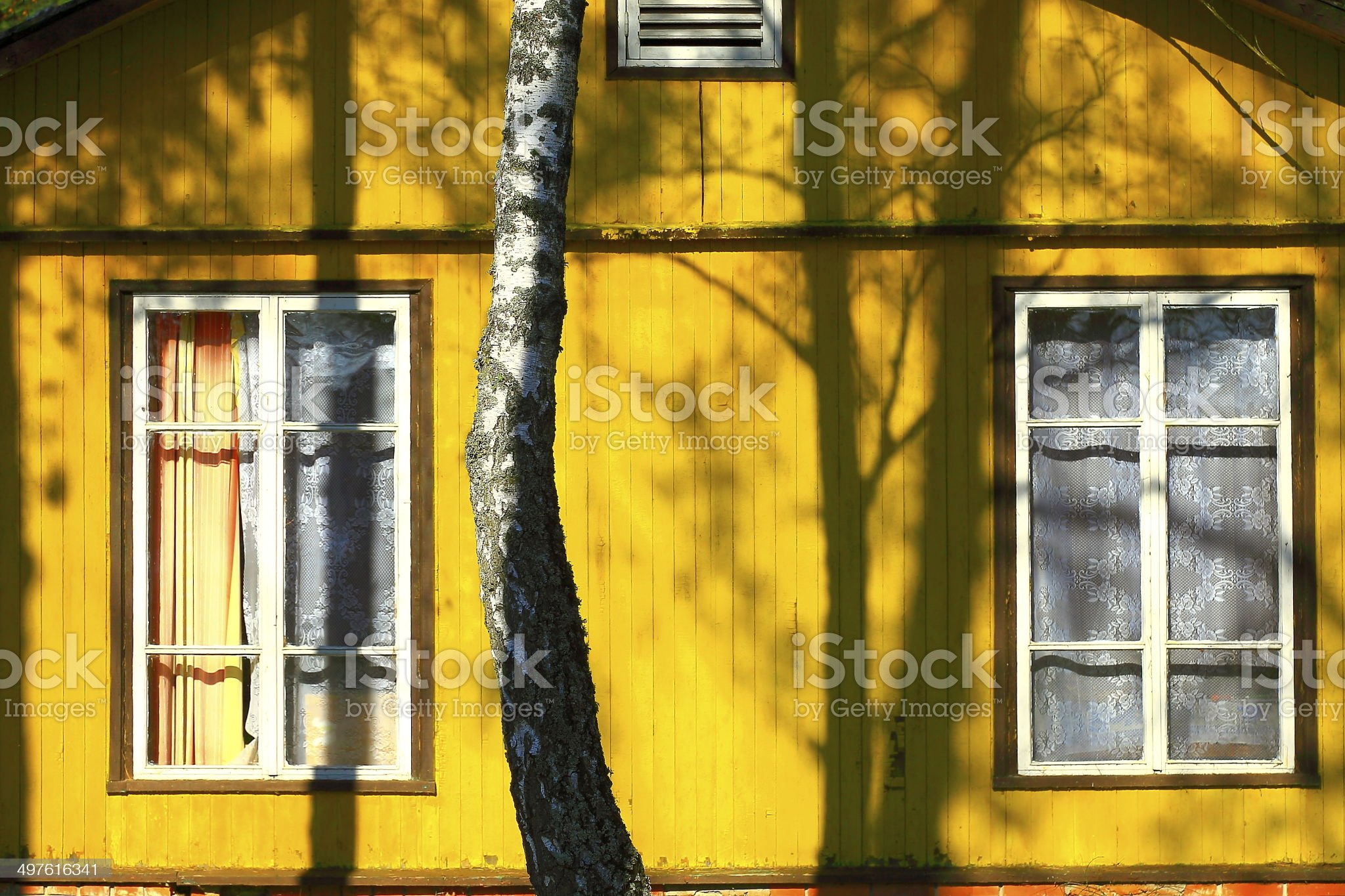 Lithuanian yellow house in Lithuania, Baltic Countries royalty-free stock photo