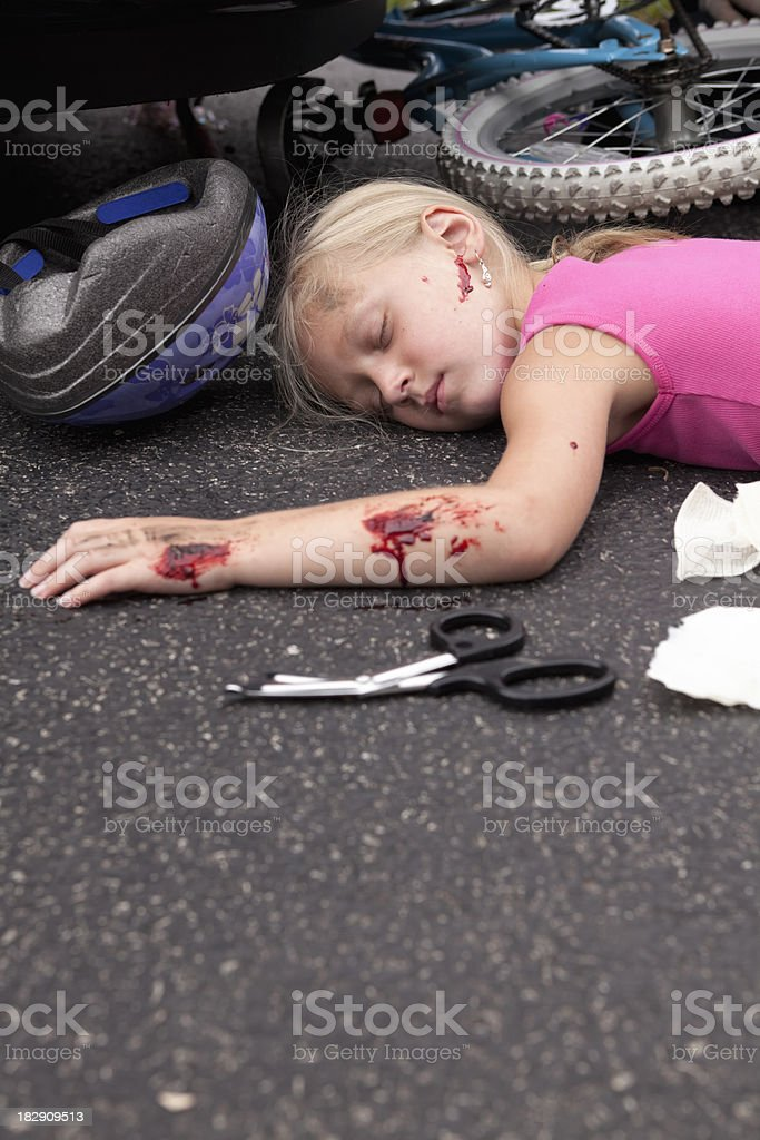 Litle Girl Hit by car Series stock photo