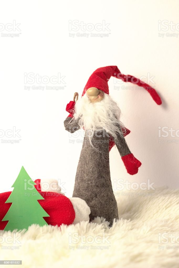 Litle santa christmas decoration stock photo