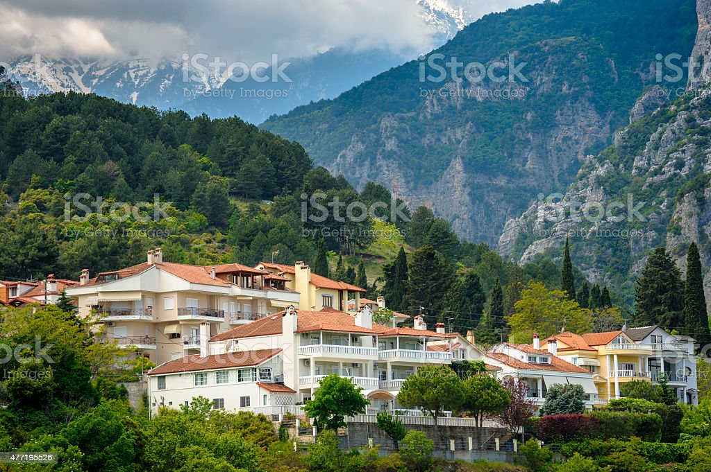 Litohoro town near Mount Olympus in Greece stock photo