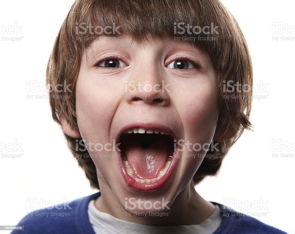 Litte boy showing emotions: Screaming royalty-free stock photo