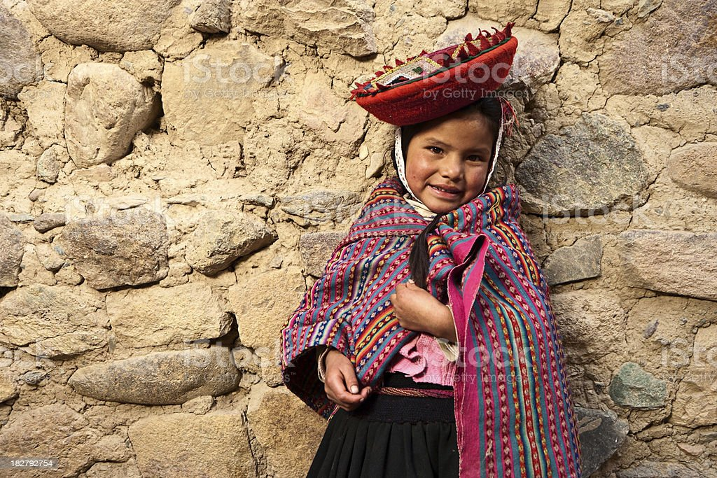 Litte girl wearing national clothing, The Sacred Valley, Peru stock photo