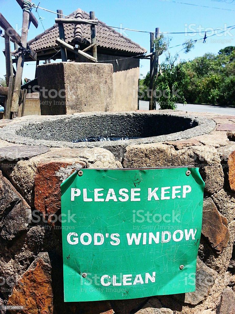 Litter bin clean sign near God's Window, Mpumalanga, tourist destination stock photo