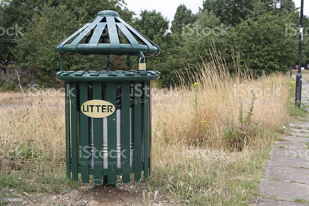 Litter Bin on Dry Heath royalty-free stock photo