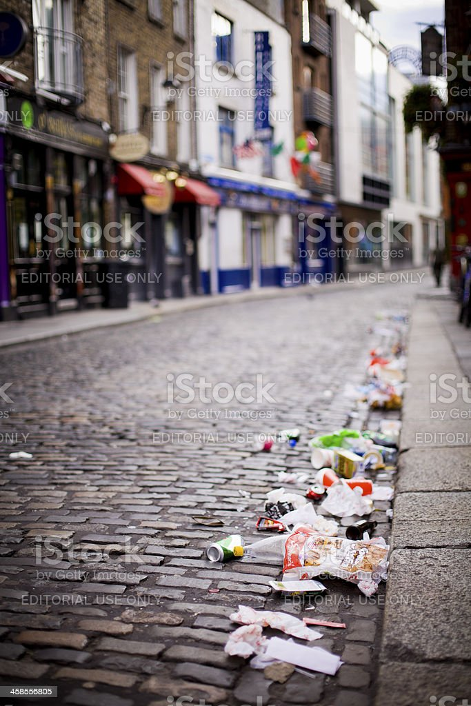 Litter on the streets stock photo