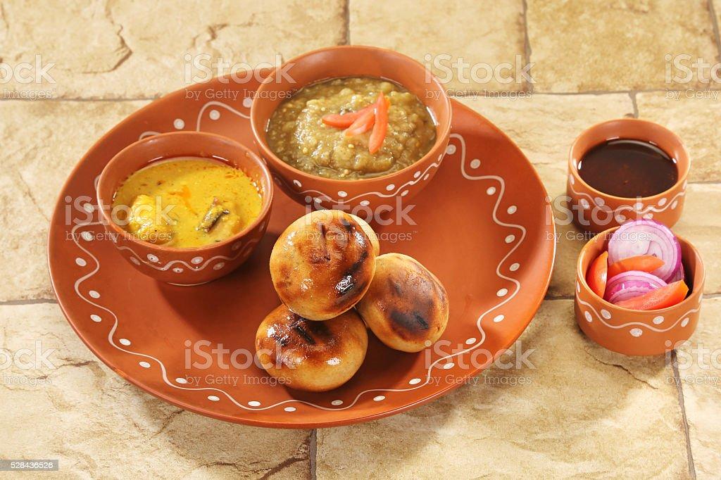 Litti Chokha – Bihar traditional food stock photo