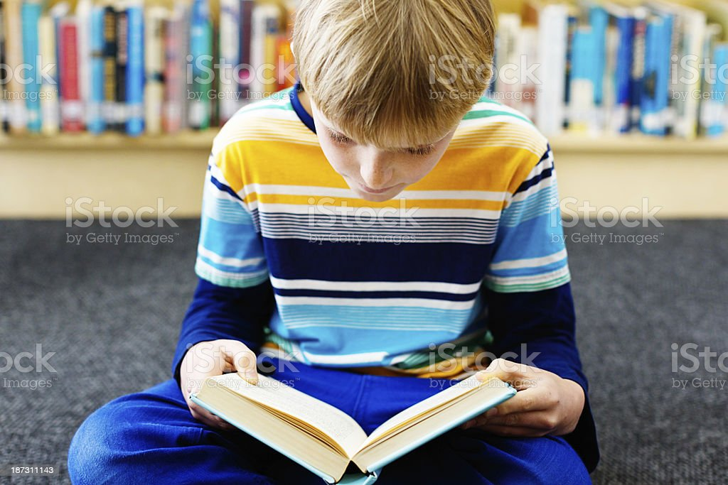 Littl blond boy utterly absorbed by book in library royalty-free stock photo