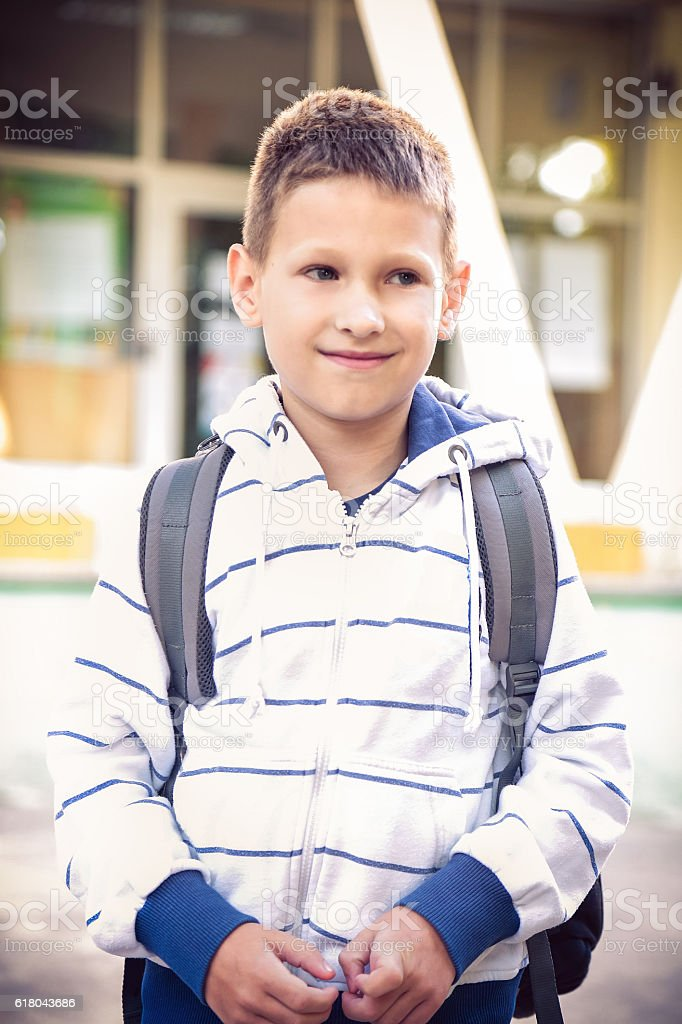 Little 7 years Schoolboy in front of the school stock photo