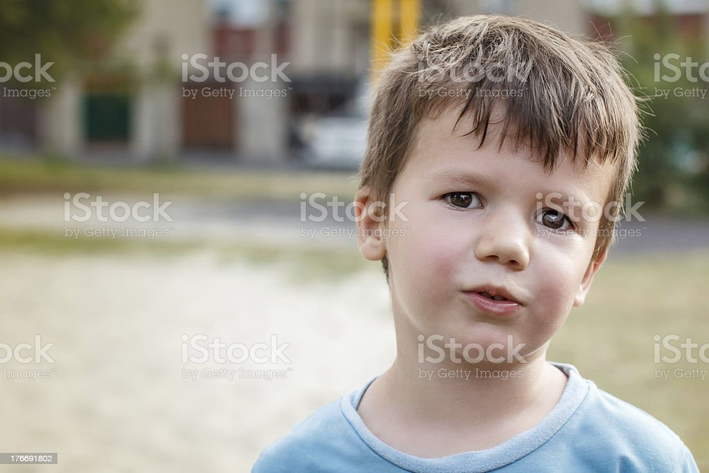 Little active sweating boy after play royalty-free stock photo