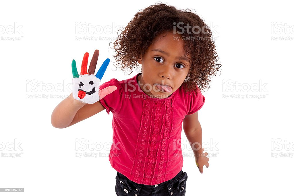 Little African Asian girl with painted hands royalty-free stock photo