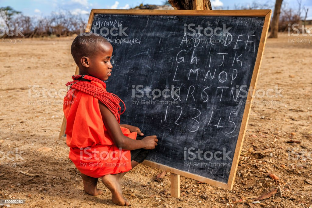 African children from Samburu tribe during English language class...